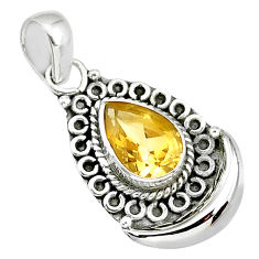 2.36cts natural yellow citrine 925 sterling silver moon pendant jewelry r89383