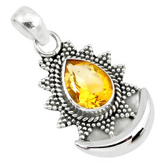 2.41cts natural yellow citrine 925 sterling silver moon pendant jewelry r89464