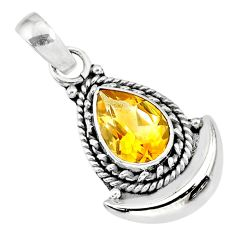 2.61cts natural yellow citrine 925 sterling silver moon pendant jewelry r89601