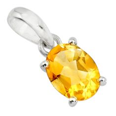 2.97cts natural yellow citrine 925 sterling silver pendant jewelry r25851