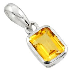 2.03cts natural yellow citrine 925 sterling silver pendant jewelry r43476
