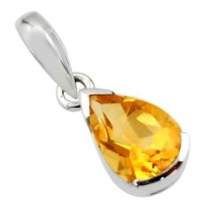 2.41cts natural yellow citrine 925 sterling silver pendant jewelry r45601