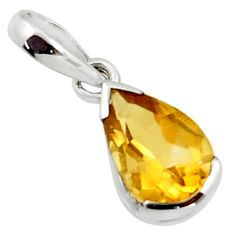 2.41cts natural yellow citrine 925 sterling silver pendant jewelry r45667