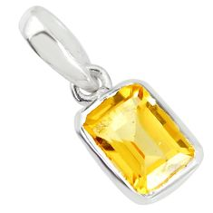 1.62cts natural yellow citrine 925 sterling silver pendant jewelry r70545