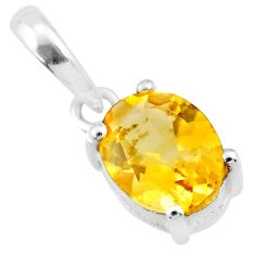 2.17cts natural yellow citrine 925 sterling silver pendant jewelry r71437