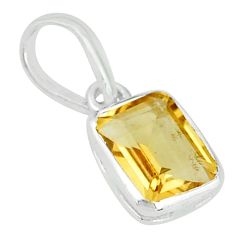 1.64cts natural yellow citrine 925 sterling silver handmade pendant t7661