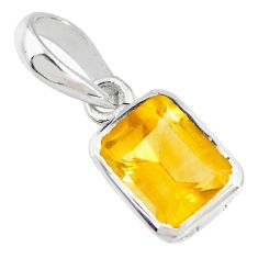 1.84cts natural yellow citrine octagan 925 sterling silver pendant r70571