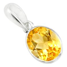 3.10cts natural yellow citrine oval 925 sterling silver pendant jewelry r71469