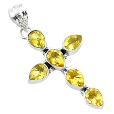9.39cts natural yellow citrine pear shape 925 silver holy cross pendant t52865