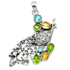 7.01cts natural yellow citrine peridot 925 silver peacock pendant r44542