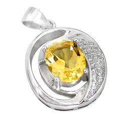 Natural yellow citrine topaz 925 sterling silver pendant jewelry c18202