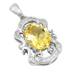 Natural yellow citrine topaz 925 sterling silver pendant jewelry c18206