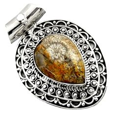 Clearance Sale- 12.85cts natural yellow fossil coral petoskey stone 925 silver pendant d45046