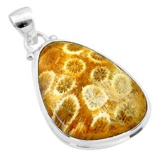 17.65cts natural yellow fossil coral petoskey stone 925 silver pendant t26642
