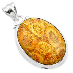 17.22cts natural yellow fossil coral petoskey stone 925 silver pendant t26645