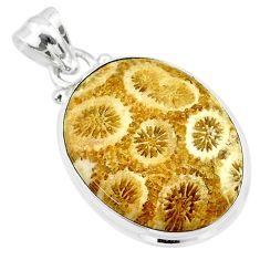 14.20cts natural yellow fossil coral petoskey stone 925 silver pendant t26652