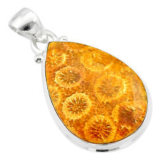 14.23cts natural yellow fossil coral petoskey stone 925 silver pendant t26654