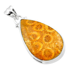 15.15cts natural yellow fossil coral petoskey stone 925 silver pendant t26660