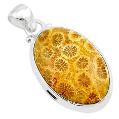 16.73cts natural yellow fossil coral petoskey stone 925 silver pendant t26661