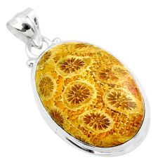 16.70cts natural yellow fossil coral petoskey stone 925 silver pendant t26663