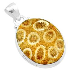 14.72cts natural yellow fossil coral petoskey stone 925 silver pendant t26666