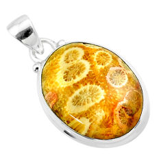 14.23cts natural yellow fossil coral petoskey stone 925 silver pendant t26668