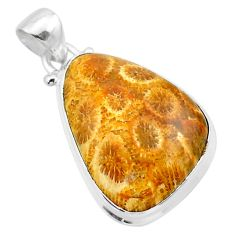 16.18cts natural yellow fossil coral petoskey stone 925 silver pendant t26673