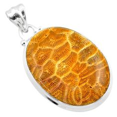 21.48cts natural yellow fossil coral petoskey stone 925 silver pendant t26676