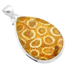 16.65cts natural yellow fossil coral petoskey stone 925 silver pendant t26679