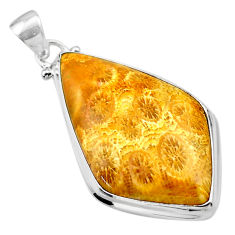 22.02cts natural yellow fossil coral petoskey stone 925 silver pendant t26701