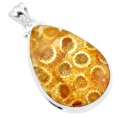 19.72cts natural yellow fossil coral petoskey stone 925 silver pendant t26708