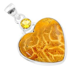 18.70cts natural yellow fossil coral petoskey stone 925 silver pendant t30543
