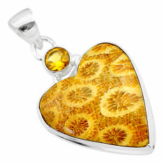 16.20cts natural yellow fossil coral petoskey stone 925 silver pendant t30550