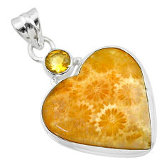 17.57cts natural yellow fossil coral petoskey stone 925 silver pendant t30560