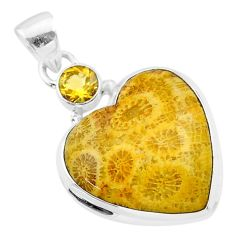 17.10cts natural yellow fossil coral petoskey stone 925 silver pendant t30562