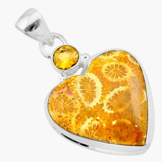 15.22cts natural yellow fossil coral petoskey stone 925 silver pendant t30571