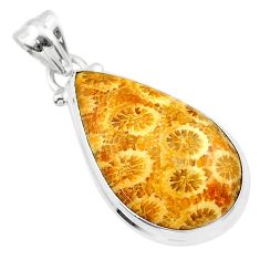 14.23cts natural yellow fossil coral petoskey stone pear silver pendant t26656