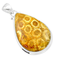 19.23cts natural yellow fossil coral petoskey stone pear silver pendant t26707