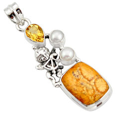 15.76cts natural yellow fossil coral petoskey stone silver angel pendant d47284