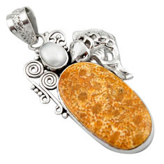 16.70cts natural yellow fossil coral petoskey stone silver fish pendant d46603