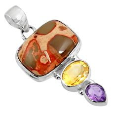 Clearance Sale- 15.47cts natural yellow fossil stone amethyst 925 sterling silver pendant d39283