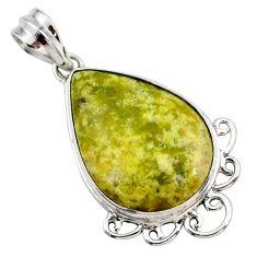 16.73cts natural yellow lizardite (meditation stone) 925 silver pendant r27721