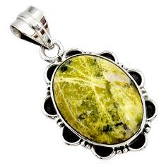 14.68cts natural yellow lizardite (meditation stone) 925 silver pendant r27722