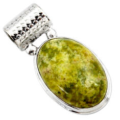 17.57cts natural yellow lizardite (meditation stone) 925 silver pendant r27723