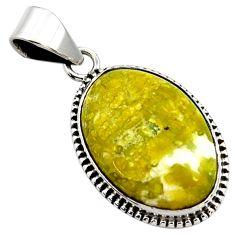 16.20cts natural yellow lizardite (meditation stone) 925 silver pendant r27725