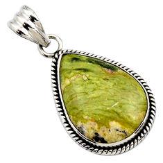 17.57cts natural yellow lizardite (meditation stone) 925 silver pendant r27726