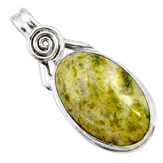 15.65cts natural yellow lizardite (meditation stone) 925 silver pendant r27727