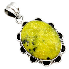 17.57cts natural yellow lizardite (meditation stone) 925 silver pendant r27735
