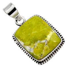 17.57cts natural yellow lizardite (meditation stone) 925 silver pendant r27952