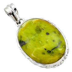 20.07cts natural yellow lizardite (meditation stone) 925 silver pendant r27955
